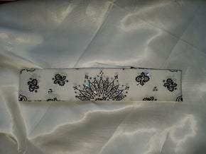 Narrow White Paisley with Diamond Clear Swarovski Crystals (Sku2031)