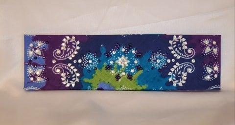 Purple Blue Tie Dye with Dark Purple and Diamond Clear Swarovski Crystals (Sku9956)