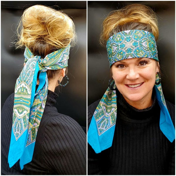 Long Turquoise and Lavender Scarf with Turquoise and Diamond Clear Swarovski Crystals (Sku3033)