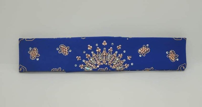 Narrow Gold Paisley on Royal Blue with Rose Gold and Diamond Clear Swarovski Crystals (Sku2517)