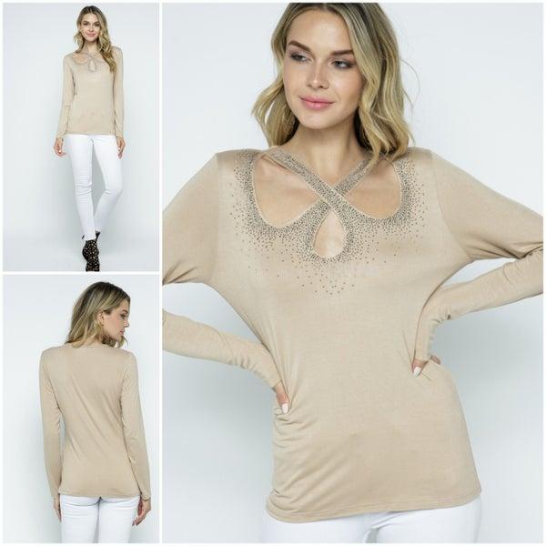 Taupe long sleeve crisscross Shirt with rhinestones (18676 TL)