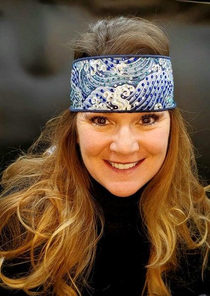 LeeAnnette Wave Headband Strip with Blues and Shimmer Swarovski Crystals (Sku4304)