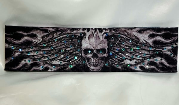 Wing Skull with Turquoise and Black Swarovski Crystals (Sku1566)