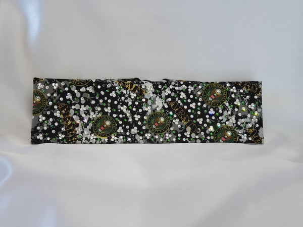 LeeAnnette Army bandana with green and clear Swarovski crystals (Sku4098)