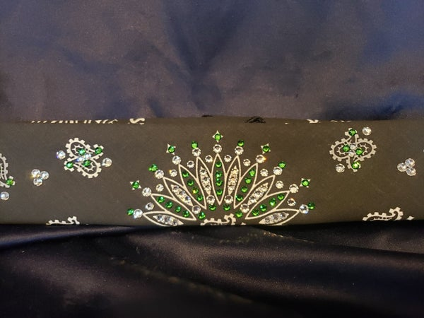 Narrow Black Paisley with Dark Green and Diamond Clear Swarovski Crystals (Sku2078)