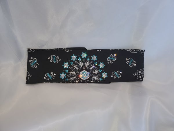 LeeAnnette Bandana with Turquoise Blue, Jet Hematite and Clear Swarovski Crystals