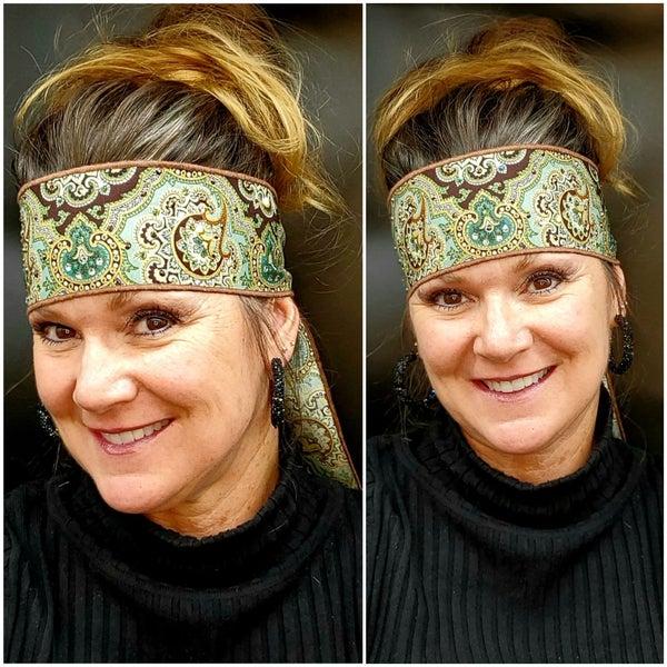 Royal Green Headband Strip with Green, Rose Gold and Diamond Clear Swarovski Crystals (Sku5521)
