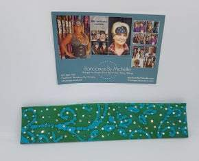 Narrow Green and Turquoise Batik with Turquoise and Diamond Clear Swarovski Crystals (Sku9937)