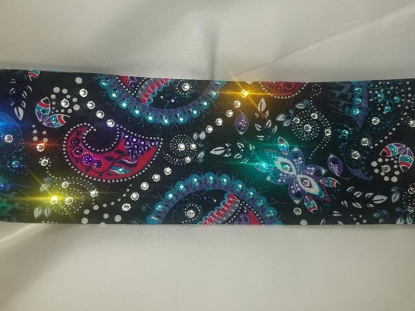Black Mardi Gras with Dark Purple, Light Blue and Diamond Clear Swarovski Crystals (Sku1170)