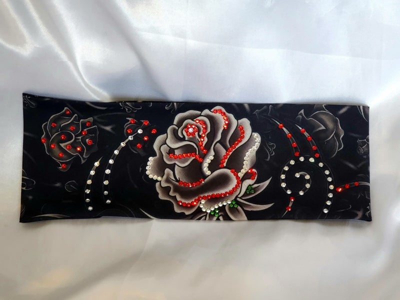 Large Grey Rose with Red, Green and Diamond Clear Swarovski Crystals (Sku9022)