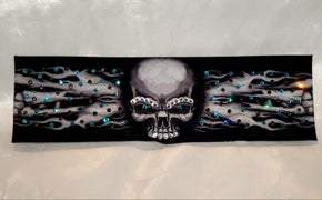 Flame Skull Bandana with Turquoise and Black Swarovski Crystals (Sku1507)