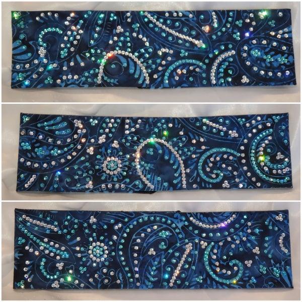 Blue Batik LeeAnnette Bandana with light turquoise and diamond clear Swarovski crystals (Sku4222)