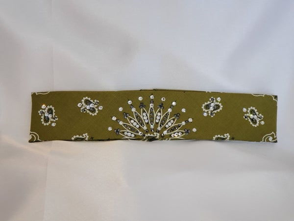 Narrow Olive Green Paisley With Jet Black Hematite and Diamond Clear Swarovski Crystals (Sku2179)