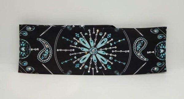 Teal Pinstripe with Turquoise and Diamond Clear Swarovski Crystals (Sku9995)