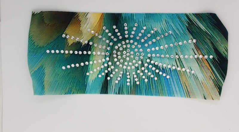 Stretchy Teal and Green Paint Stroke Headband with Clear Crystals (Sku5106)