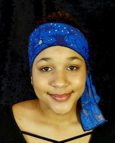 Dark Blue Jungle Leaves Headband Strip with Blue, Diamond Clear and Black Swarovski Crystals (Sku5559)