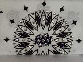 White Paisley with Dark Purple and Diamond Clear Swarovski Crystals (Sku2013)