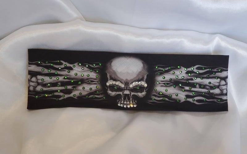 Flame Skull Bandana with Dark Green Swarovski Crystals (Sku1526)