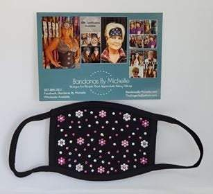 Black Face Mask Extra Bling with Fuchsia, Rose and Diamond Clear Swarovski Crystals (Sku5902)