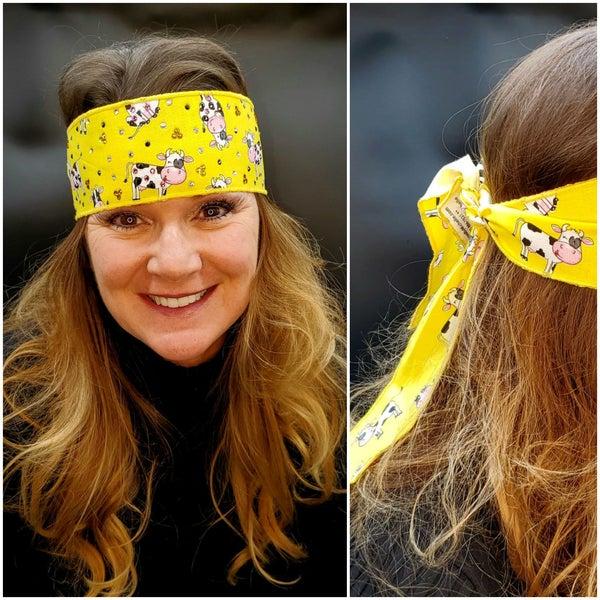Cows on Yellow Headband Strip with Black, Yellow and Diamond Clear Swarovski Crystals (Sku5512)