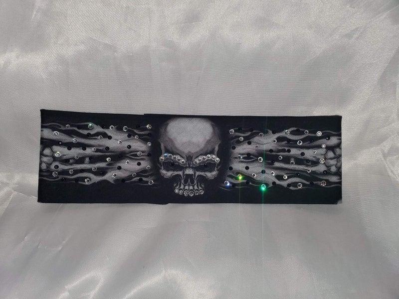 Flame Skull Bandana with Dark Purple and Clear Crystals (Sku1505)