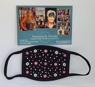 Black Face Mask with Fuchsia, Rose and Diamond Clear Swarovski Crystals (Sku5902) *Final Sale*