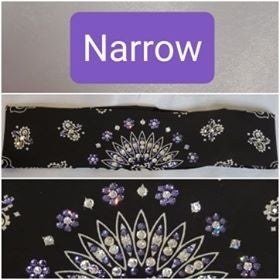 Narrow Black Paisley with Light Purple and Diamond Clear Swarovski Crystals (Sku075)