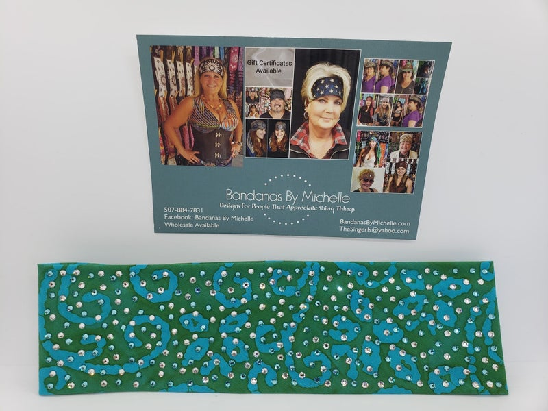 LeeAnnette Green and Turquoise Batik with Turquoise and Diamond Clear Swarovski Crsytals (Sku4901)