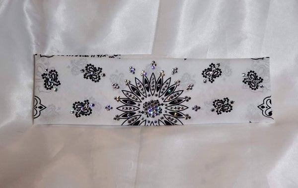 White Paisley with Diamond Clear Swarovski Crystals (Sku2001)