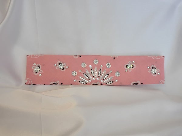 Narrow Light Pink Paisley with Diamond Clear Swarovski Crystals (Sku2152)