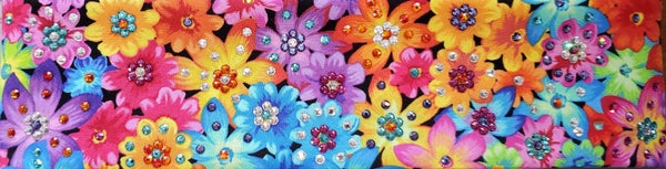 LeeAnnette Bright Flowers with Fuchsia, Turquoise, Orange, Lavender and Diamond Clear Swarovski Crystals (Sku4038)