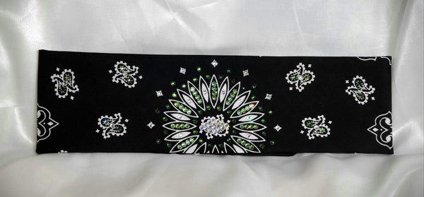 Black Paisley With Dark Green, Light Green and Diamond Clear Swarovski Crystals (Sku1943)