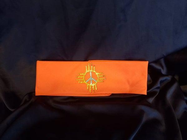 Zia on Orange with Yellow, Turquoise and Orange Swarovski Crystals (Sku9706)