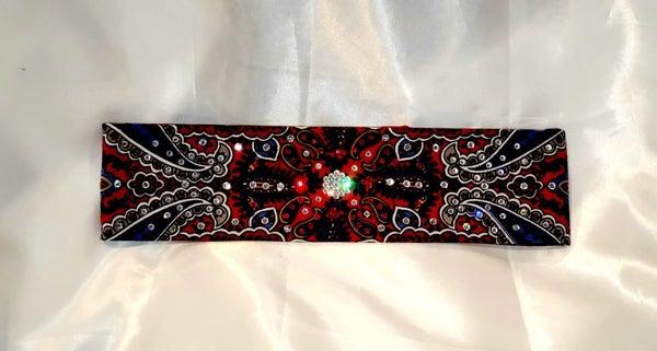 Narrow Red Indian Bandana with Red and Diamond Clear Swarovski Crystals (Sku1204)