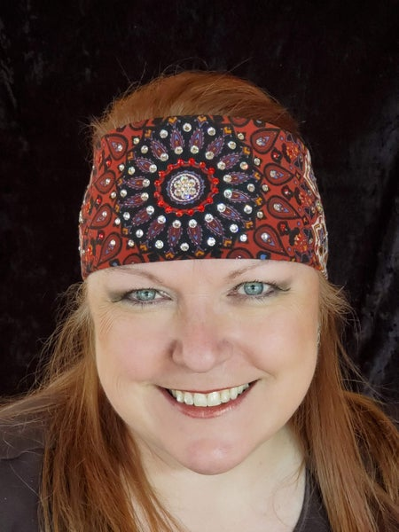 Rust Indian with a Clear Center and Red Ring of Crystals (Sku1290)