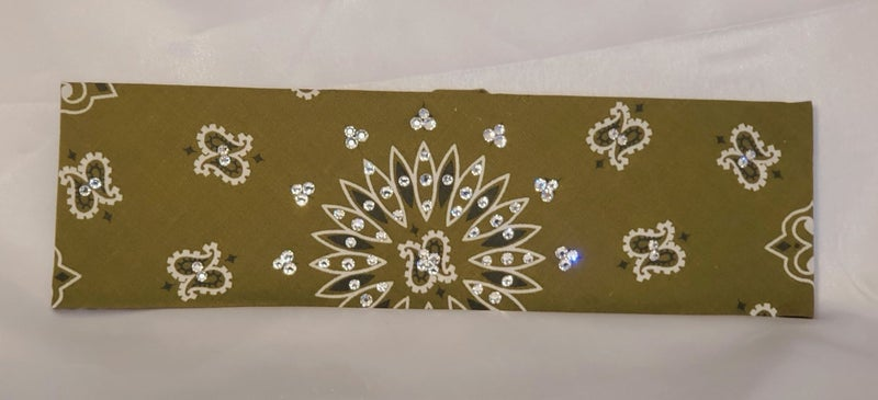 Bargain Bandana Olive Green with Diamond Clear Crystals (Sku8102)