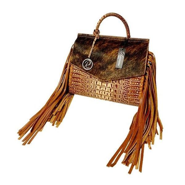 Melba's Fringe Handle Bag Brown Leather Raviani (Sku P-3001)