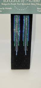 Elegant Blue/Black Tassel Drop Crystal Earring (Sku8305)