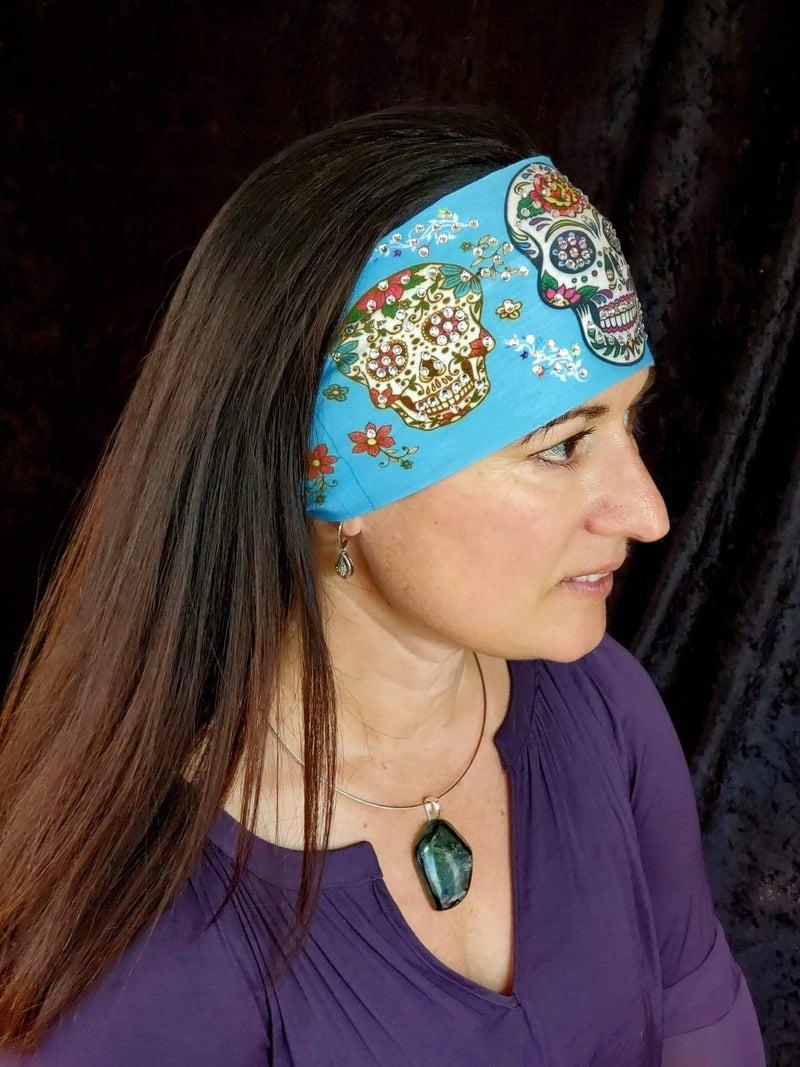 Stretchy Light Blue Triple Sugar Skull Headband with Aurora Borealis Crystals (Sku5086)