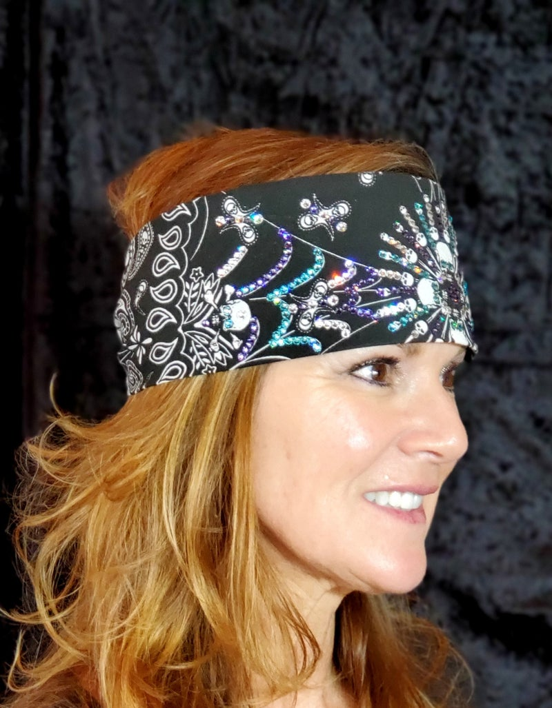 Spiderweb Skull LeeAnnette Bandana With Turquoise, Light Purple and Clear Swarovski Crystals (Sku4882)
