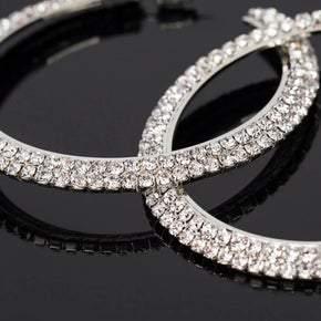 Double Row Crystal Hoop Pierced Earrings (sku8301)