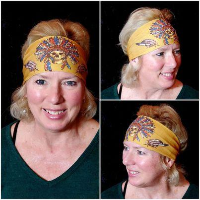 Mustard Indian Stretchy Headband with Clear Crystal Rhinestones (Sku5090)