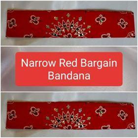 Bargain Bandana Narrow Red with Diamond Clear Crystals (Sku8040)