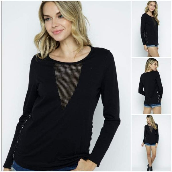Black Long Sleeve Laced-up on the side
