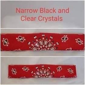 Narrow Red Paisley with Black and Diamond Clear Swarovski Crystals (Sku2102)