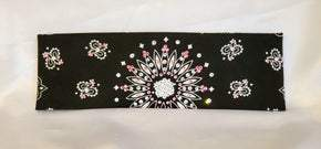 Black Paisley with Light Pink and Diamond Clear Swarovski Crystals (Sku1914)