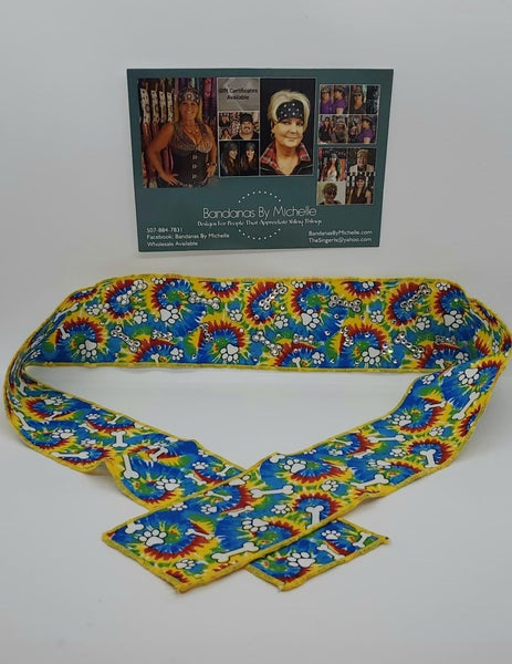 Dog Bones Headband Strip with Diamond Clear Swarovski Crystals (Sku5543)