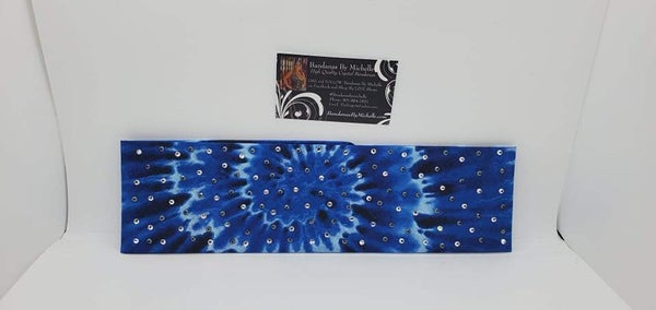 Blue and Black Tie Dye with Black and Diamond Clear Austrian Crystals (Sku6012)