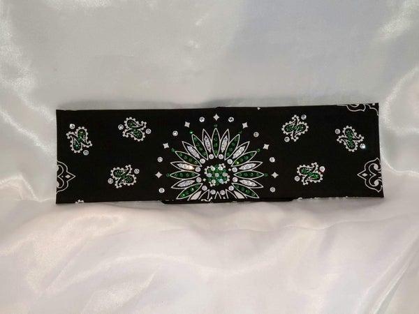 Black Paisley With Dark Green and Diamond Clear Swarovski Crystals (Sku1935)