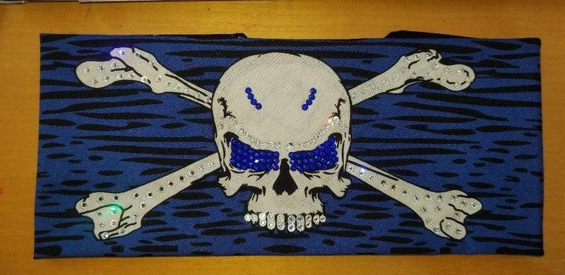 Blue Skull & Cross Bones with Blue and Diamond Clear Swarovski Crystals (Sku1096)